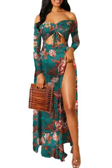 Women's Hot Fashion Off The Shoulder Tribal Printed Split Side Cutout Detail Maxi Swing Dress