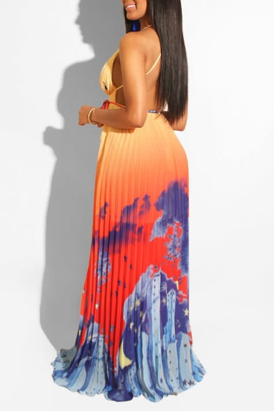 Women's Hot Fashion Spaghetti Straps Sleeveless Printed Bow-Tied Waist Maxi Pleated Orange Dress