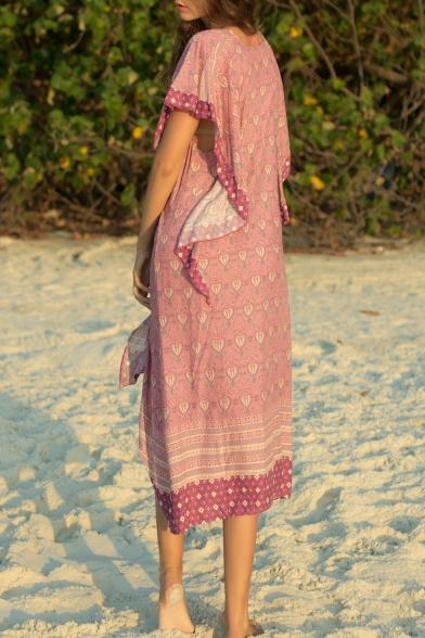 Women's Hot Fashion V-Neck Short Sleeve Tribal Printed Ruffle Hem Midi Asymmetric Purple Dress