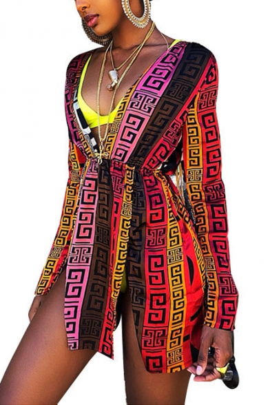 Women's Hot Sale Tribal Print Plunge Neck Long Sleeve Split Mini A-Line Dress