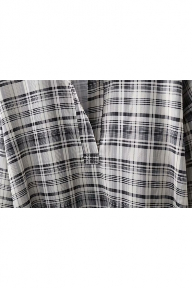 Women's Stylish Check Plaid Print Spread Collar Long Sleeve Tied Hem Tunic Shirt Blouse
