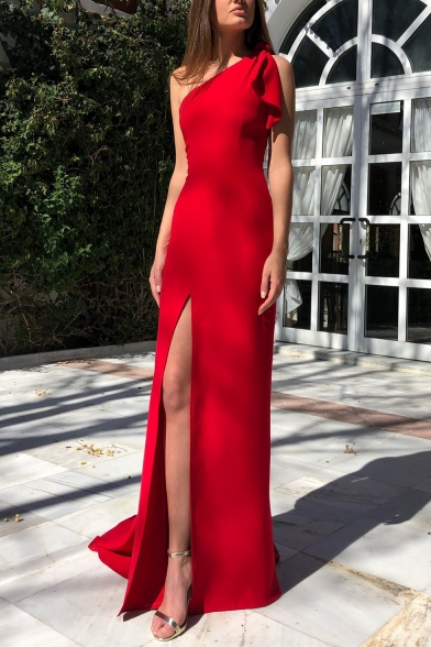 Women's Stylish One Shoulder Sleeveless Plain Split Hem Floor Length Shift Red Dress