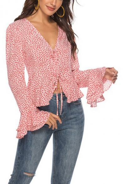 Women's Summer Trendy Floral Printed Tied Up V-Neck Flared Long Sleeve Pink Blouse