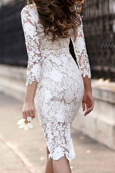 Womens New Fashionable Long Sleeve Simple Plain White Midi Pencil Dress Lace Dress