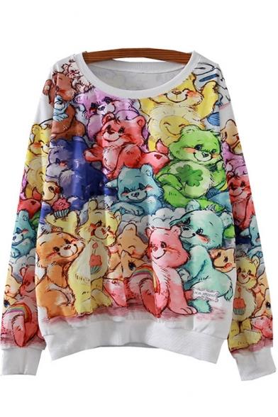 Allover Bear Printed Round Neck Long Sleeve Contrast Trim Oversized Sweatshirt