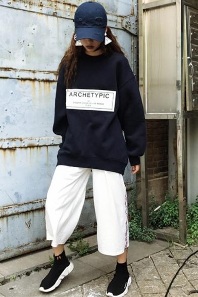 ARCHETYPIC Letter Round Neck Long Sleeve Oversized Sweatshirt