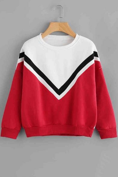 Color Block Chevron Stripe Round Neck Long Sleeve Pullover Sweatshirt