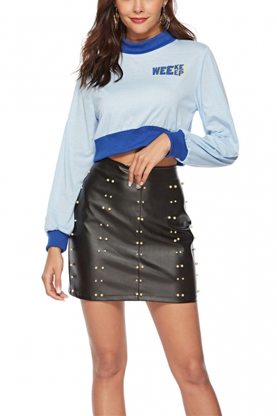 Contrast Hem Mock Neck Long Sleeve Simple Letter Print Crop Light Blue Sweatshirt