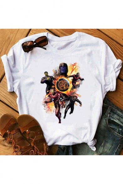 Cool Comic Figure Printed Basic Round Neck Short Sleeve White Casual Tee