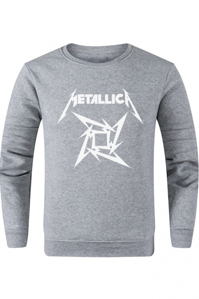 Cool Letter METALLICA Printed Basic Round Neck Long Sleeve Pullover Sweatshirt