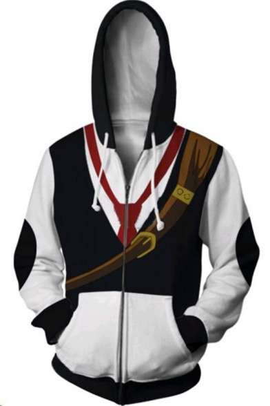 Cool Necktie 3D Printed Long Sleeve Zip Up Loose Fit Black and White Hoodie