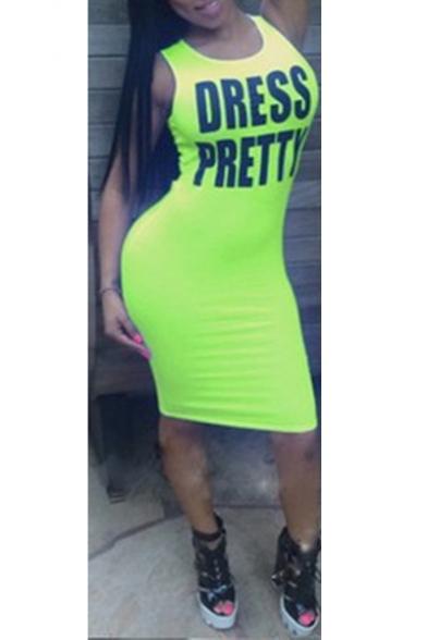 DRESS PRETTY Letter Scoop Neck Sleeveless Cut Out Back Midi Bodycon Tank Dress