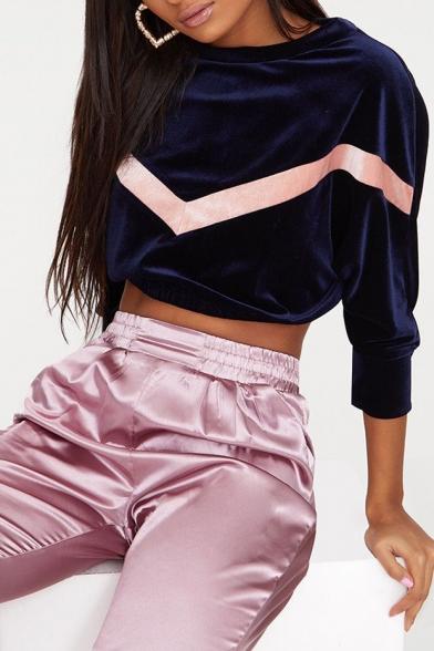 Fashion Chevron Stripe Pattern Round Neck Long Sleeve Cropped Velvet Sweatshirt