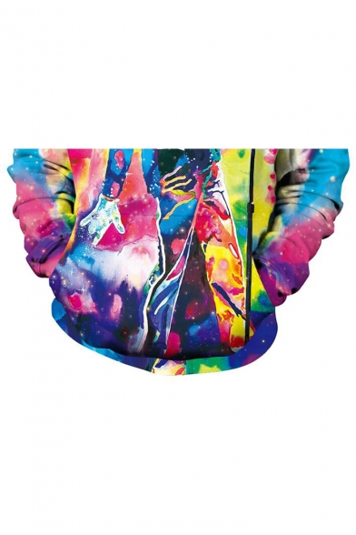 Fashion Michael Jackson 3D Character Print Tie Dye Long Sleeve Unisex Hoodie with Pocket