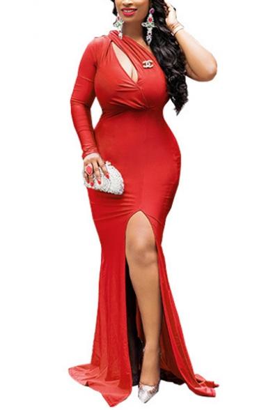 Fashion Sexy One Shoulder Long Sleeve Plain Cutout Split Hem Floor Length Nightclub Bodycon Dress