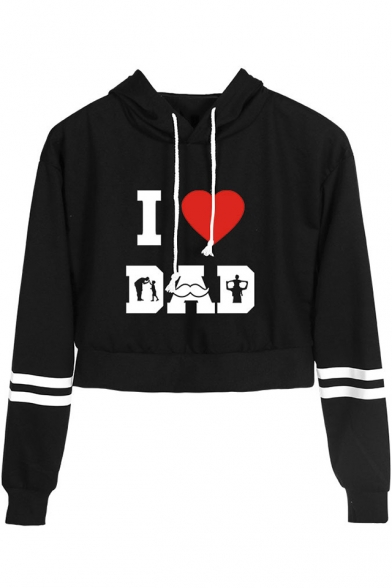 Father' Day Popular Heart Letter I LOVE DAD Print Stripe Long Sleeve Cropped Hoodie, Black;dark navy;pink;white;yellow, LM533967