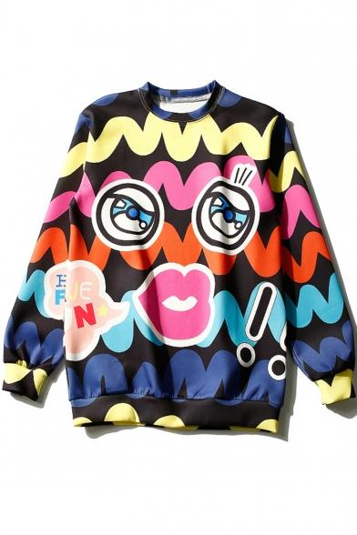 Funny Colorful Cartoon Clown Printed Crewneck Long Sleeve Pullover Sweatshirt