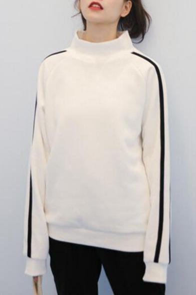 Girls Fashion Striped Long Sleeve High Neck Thick Sweatshirt