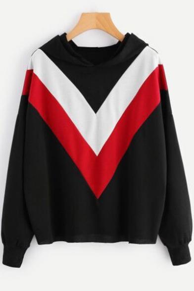 Hot Trendy Chevron Striped Printed Long Sleeve Loose Fit Hoodie