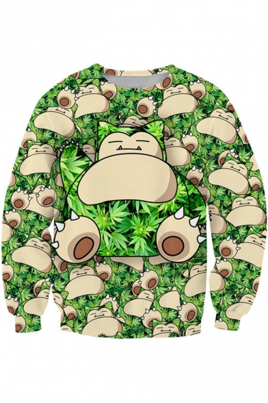 Lovely Cartoon Animal Pattern Round Neck Long Sleeve Green Casual Sweatshirt