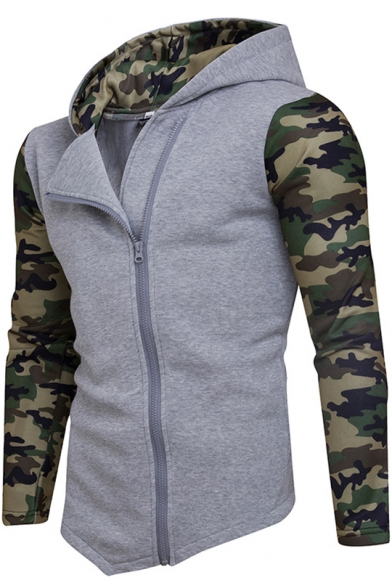 Mens New Trendy Camo Patched Long Sleeve Zip Up Slim Fitted Hoodie