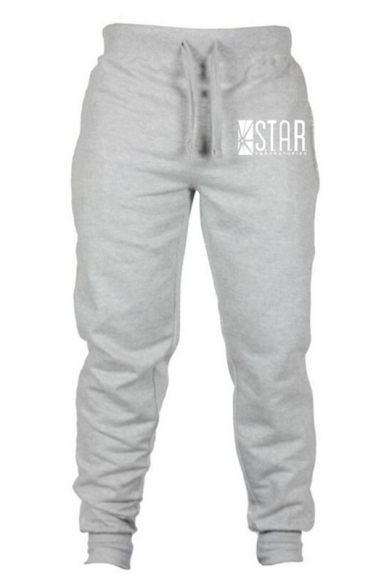 Mens Simple Letter Logo STAR Pattern Drawstring Waist Fitted Sport Joggers Sweatpants