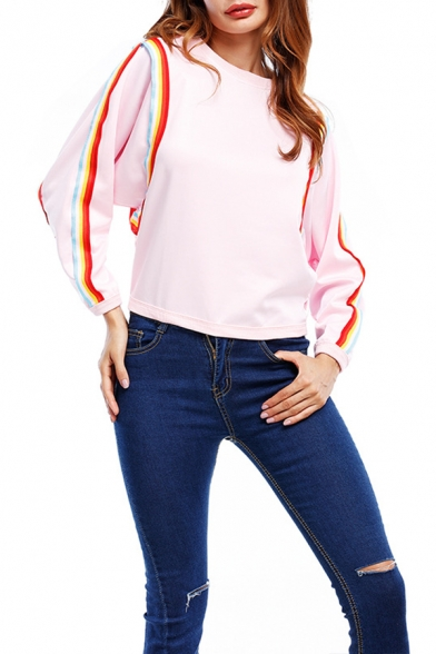 New Stylish Rainbow Striped Round Neck Long Sleeve Relaxed Fit Pullover Sweatshirt