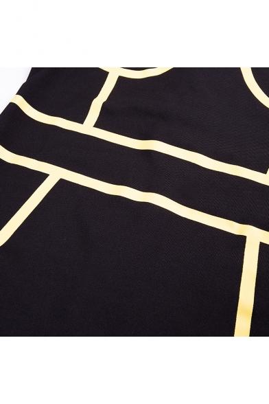 New Trendy Mock Neck Long Sleeve Tape Detail Mini Black Bodycon Dress