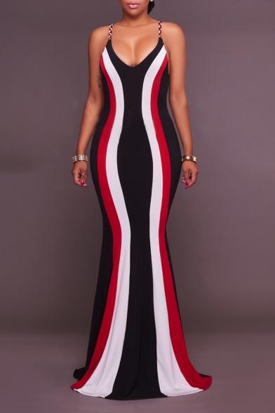 New Trendy Plunge Neck Sleeveless Stripes Printed Strappy Back Length Floor Bodycon Black Dress