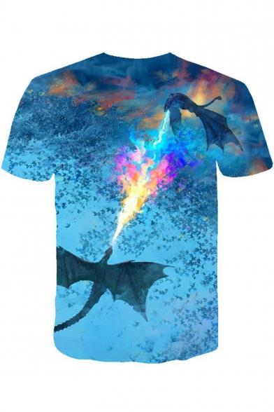 Popular Fire Dragon 3D Printed Round Neck Short Sleeve Blue T-Shirt