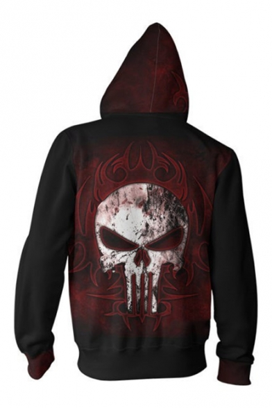 Skull Pattern Long Sleeve Casual Loose Zip Front Red Hoodie