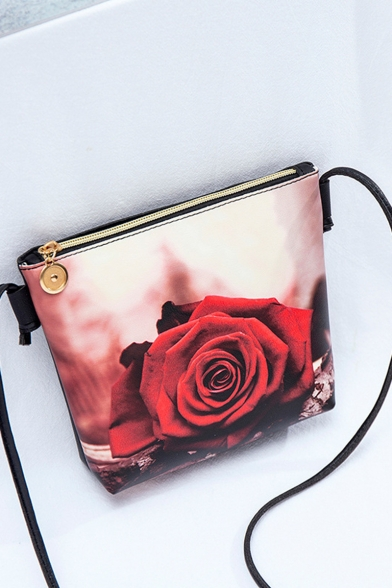 Stylish Floral Printed Red Crossbody Purse with Long Strap 17*5*17 CM
