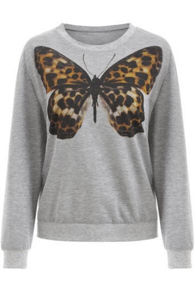Stylish Women's Leopard Butterfly Print Round Neck Long Sleeve Gray Pullover Sweatshirt
