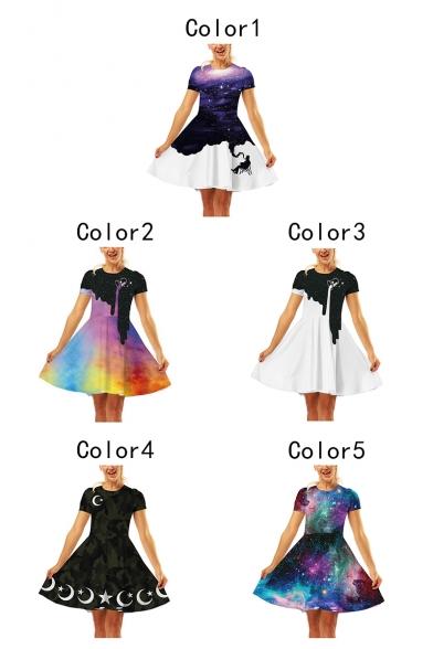 Summer Fashion 3D Galaxy Printed Round Neck Short Sleeve Mini A-Line Dress