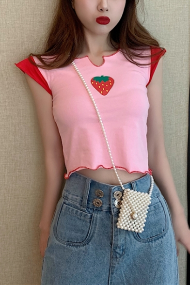 Summer Girls Pink Cute Strawberry Print Slim Fit Cropped T-Shirt