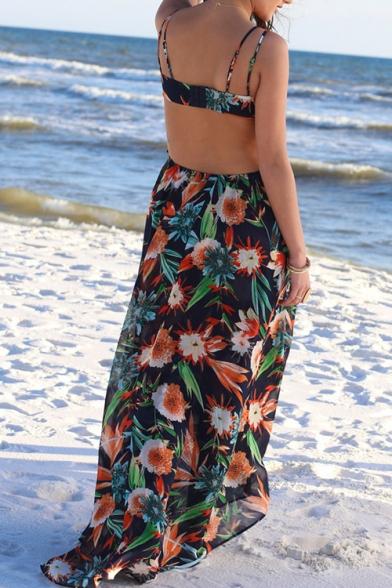 Summer Sexy Hot Fashion Spaghetti Straps Sleeveless Floral Printed Maxi Boho Beach Black Dress