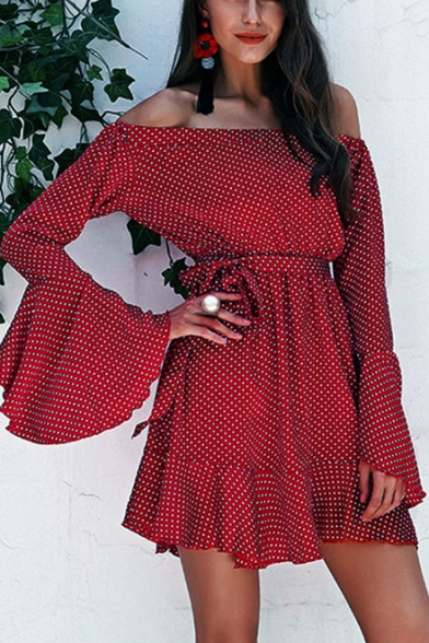 Summer Stylish Red Polka Dot Printed Off the Shoulder Flared Long Sleeve Tied Waist Mini A-Line Ruffle Dress