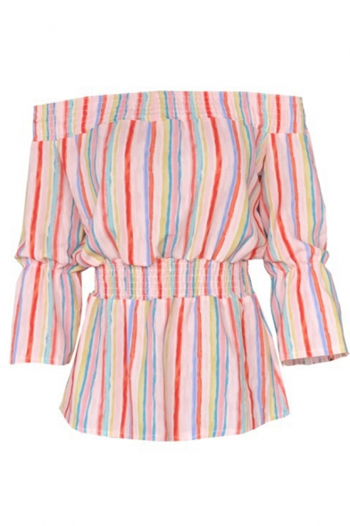 Summer Trendy Rainbow Striped Printed Sexy Off the Shoulder Blouse Top