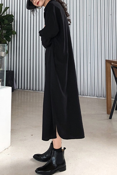 Summer Trendy Solid Color V-Neck Long Sleeve Button Down Maxi Slouchy Shirt Dress