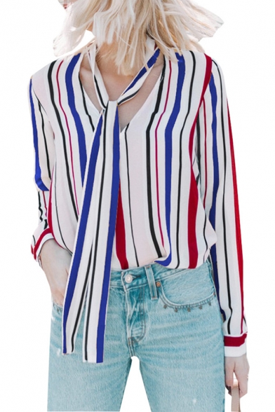 Trendy Colorful Stripe Printed Tied V-Neck Long Sleeve Loose Fit Blouse Top for Women