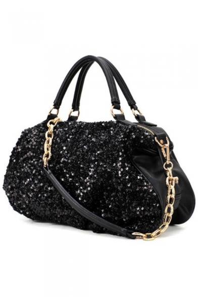 Trendy Solid Color Black Sequin Casual Satchel Bag for Women