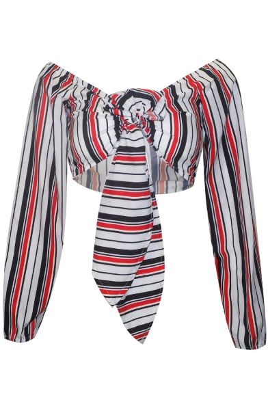 Trendy Vertical Stripe Printed Knotted Plunging V-Neck Long Sleeve Cropped Blouse Top