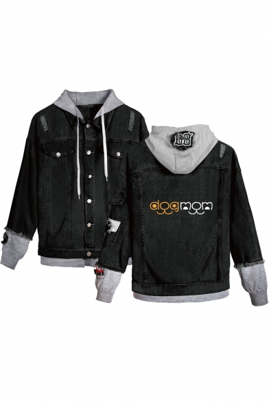 Unique Letter DOG MOM Print Ripped Patched Hooded Button Down Black Denim Jacket