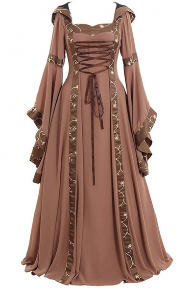 Vintage Square Neck Bell Long Sleeve Lace-Up Front Maxi Floor Length Dress