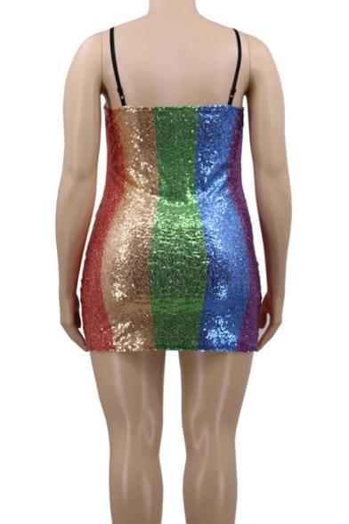 Women's Colorblock Stripe Spaghetti Straps Sleeveless Oversized Embellished Mini Slip Bodycon Dress