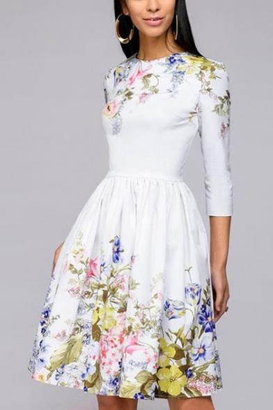 Women's Elegant Floral Print 3/4 Sleeve Round Neck Casual Midi A-Line White Dress