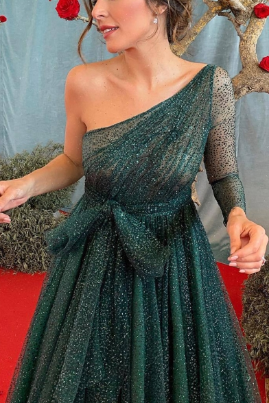 Women's Fashion Sexy One Shoulder Long Sleeve Backless Sparkling Plain Bow-Tied Waist Floor Length A-Line Dark Green Evening Dress