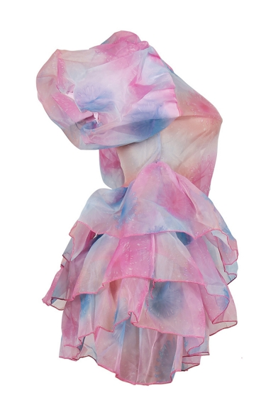 Women's Funny Tie-dye Short Sleeve Round Neck Ruffle Hem Mini Pink Bubble Pink Dress