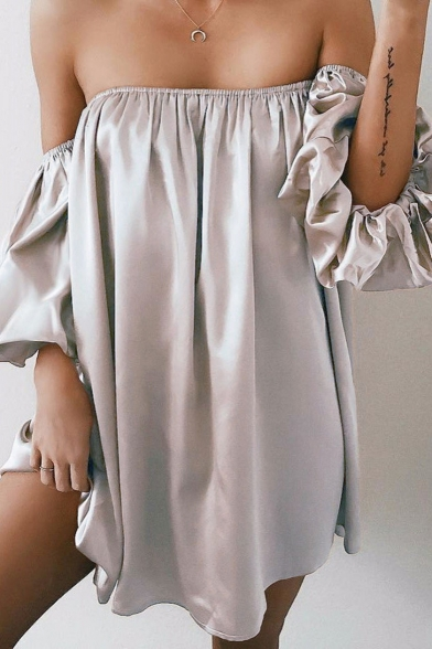 Women's Sexy Off the Shoulder Simple Plain Puff Sleeve Casual Loose Tunic Party Bandeau Blouse Top Dress