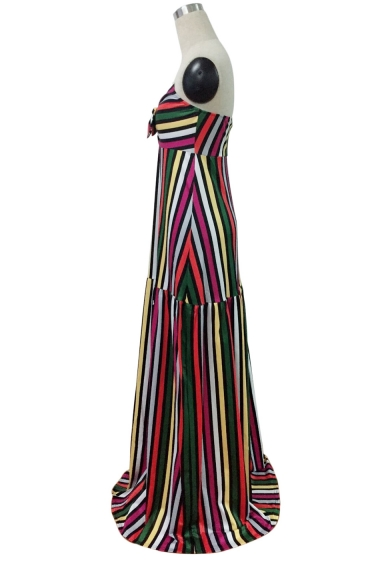 Women's Sexy Off The Shoulder Sleeveless Stripes Printed Bandeau Maxi Dress